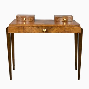 French Art Deco Walnut Veneer Dressing Table, 1940s