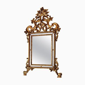 Vintage Carved & Gilded Wood Wall Mirror, 1950s