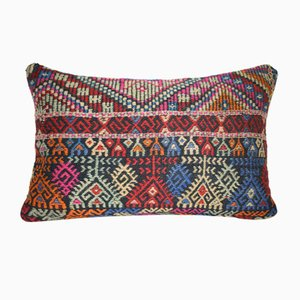 Turkish Kilim Pillow Cover with Cicim Patterns from Vintage Pillow Store Contemporary