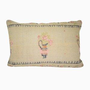 Funda de almohada turca de kilim tejida a mano con estampado floral de Vintage Pillow Store Contemporary