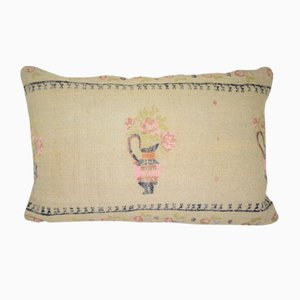 Turkish Handwoven Kilim Pillow Cover with Floral Pattern from Vintage Pillow Store Contemporary