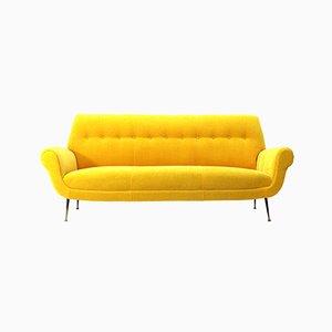 Mid-Century Italian Yellow Velvet 3-Seater Sofa, 1950s