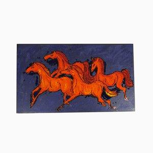 772 Wandtafel aus Keramik mit Pferde-Motiv von Ruscha, 1960er