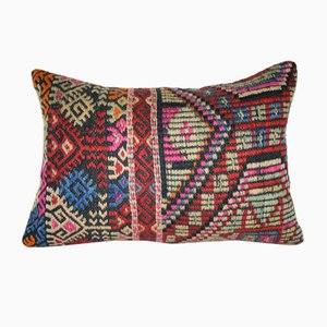 Hand-Made Wool Kilim Lumbar Pillow Cover from Vintage Pillow Store Contemporary