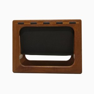 Danish Teak & Leather Magazine Rack from Salin Mobler, 1960s