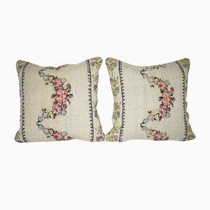 Kelim Kissenbezüge mit floralen Mustern von Vintage Pillow Store Contemporary, 2er Set