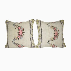 Kilim Pillow Covers with Floral Patterns from Vintage Pillow Store Contemporary, Set of 2