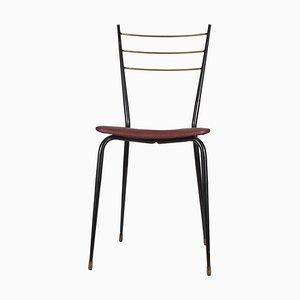 Italienischer Beistellstuhl aus Metall & Messing, 1960er