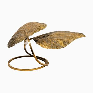 Italian Golden Brass Leaf Table Lamp by Tommaso Barbi, 1970s