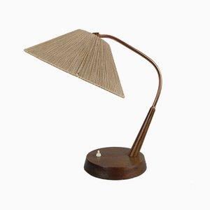 Lámpara de escritorio modelo 33 de teca y rafia de Temde, años 60
