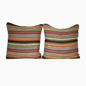 Fundas para almohadas Kilim turcas de lana a rayas de Vintage Pillow Store Contemporary. Juego de 2