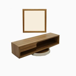 Veneer Mirror and Shelving Set, 1960s, Set of 2