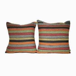 Housses de Coussin Kilim Rayées de Vintage Pillow Store, Turquie, Set de 2