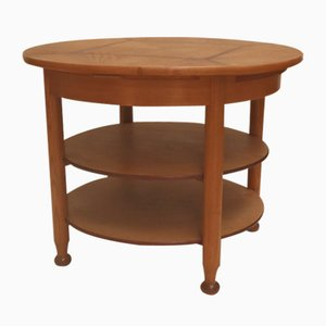 Large Antique Rosewood & Ash Round 3-Tier Pedestal Table, 1910s