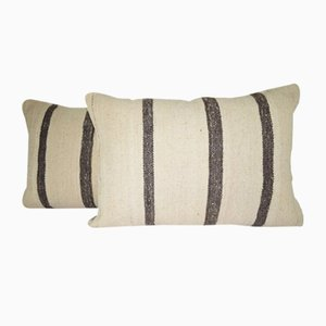 Federe in lana intrecciata a mano a righe nere di Vintage Pillow Store Contemporary, set di 2, Turchia