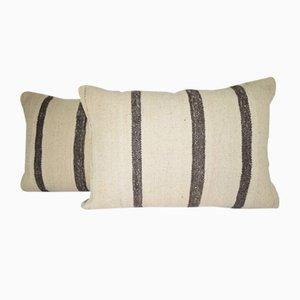 Fundas de almohada turcas de lana tejida a mano con rayas negras de Vintage Pillow Store Contemporary. Juego de 2