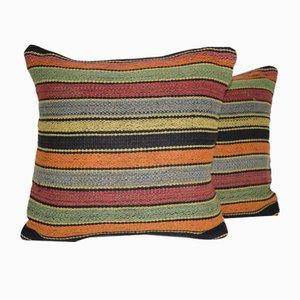Fundas para almohadas kilim turcas cuadradas de Vintage Pillow Store Contemporary. Juego de 2