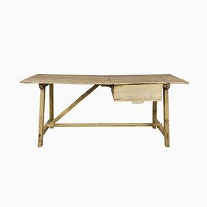 Mesa de trabajo rústica española antigua de madera, década de 1800