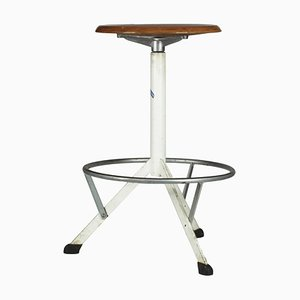 Italian White Painted Metal Stool from Antica Fabbrica Bologna Vittorio Martini, 1970s