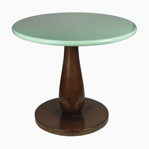 Italian Round Wood Coffee Table, 1960s