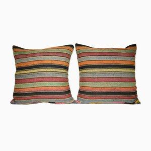 Housses de Coussin Kilim en Laine Rayée de Vintage Pillow Store Contemporary, Set de 2