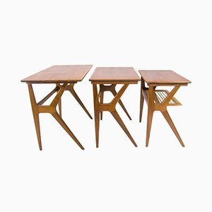 Scandinavian Nesting Tables by Johannes Andersen for CFC Silkeborg, 1950s, Set of 3