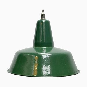 Vintage Industrial Green Enamel Pendant Light, 1950s