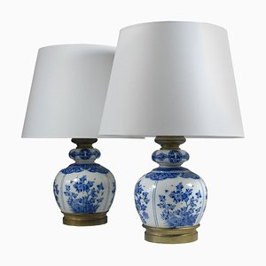Antique Delft Table Lamps, 1890s, Set of 2