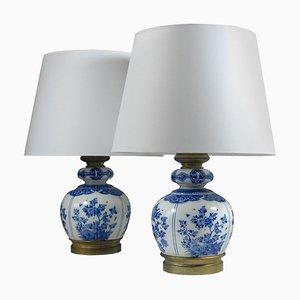 Lámparas de mesa antiguas de Delft, década de 1890. Juego de 2