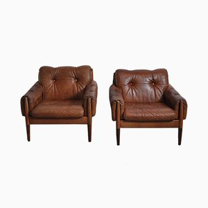 Scandinavian Rosewood & Cognac Brown Leather Lounge Chairs, 1960s, Set of 2
