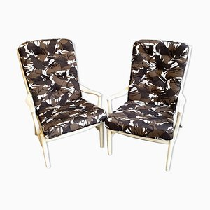 Vintage White Easy Chairs with Camouflage Cushions from Parker Knoll, 1960s, Set of 2