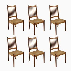 Dänische Esszimmerstühle mit Flechtsitz von Arne Hovmand Olsen für Mogens Kold, 1960er, 6er Set