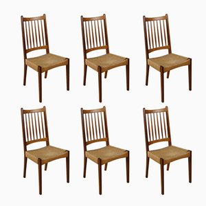 Danish Papercord Dining Chairs by Arne Hovmand Olsen for Mogens Kold, 1960s, Set of 6