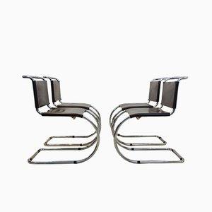 Chaises Cantilever MR10 Marron par Ludwig Mies van der Rohe, 1960s, Set de 4