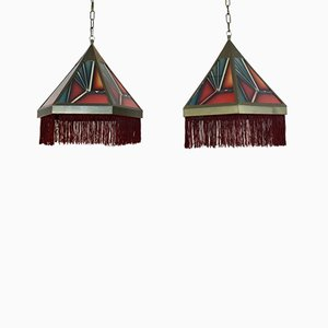 Amsterdam School Stained Glass Pedant Lights, 1930s, Set of 2