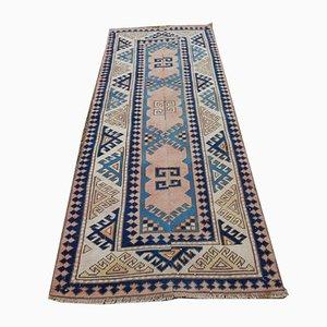 Alfombra Oushak de tejido plano sobreteñida en azul, años 70