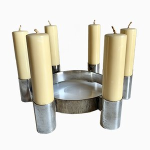 Vintage Space Age Stainless Steel Candleholder, 1970s