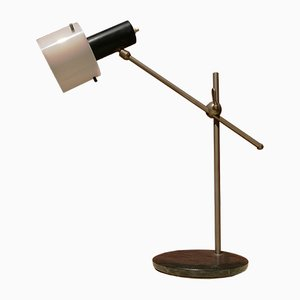 Brushed Steel, Metal & White Plexiglass Table Lamp with Black Marble Base from Stilnovo, 1950s