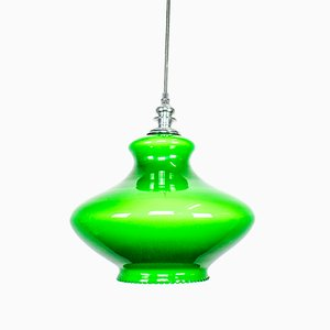 Green Opaline Glass Ceiling Lamp, 1960s