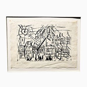 Bauhaus City with Church in the Sun Woodcut by Lyonell Feininger, 1918