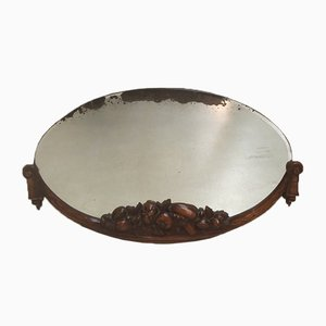 Oval Carved Beech & Walnut Mirror, 1920s