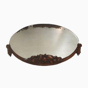 Specchio ovale in legno di faggio intagliato e noce, anni '20