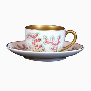 Art Deco German Hand-Painted Cup & Saucer Set from Karl Krister Porzellanmanufaktur, 1920s