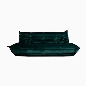 Togo Dark Green Velvet Three Seater by Michel Ducaroy for Ligne Roset, 1970s