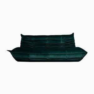 Togo Dark Green Velvet Three Seater by Michel Ducaroy for Ligne Roset, 1970s