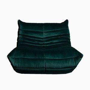 Togo Dark Green Velvet One Seater by Michel Ducaroy for Ligne Roset, 1970s