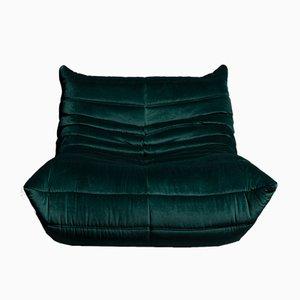 Togo Dark Green Velvet One Seater by Michel Ducaroy for Ligne Roset, 1970s