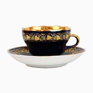 Tasse Antique en Porcelaine Peinte à la Main avec Assiette de KPM Berlin