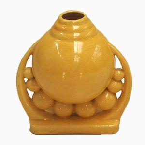 Vase Vintage en Céramique Jaune, 1930s