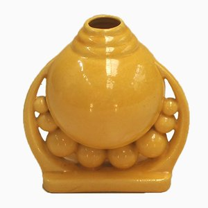 Vintage Yellow Ceramic Vase, 1930s
